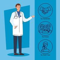 manlig läkare med rekommendationer för att stoppa koronavirus vektor