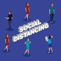 kampanj för social distansering för covid 19 med människor vektor