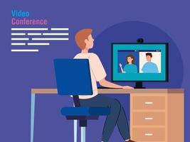 man i en videokonferens via dator