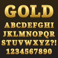 Buchstabe Alphabet mit Zahlen Gold glänzenden Stil Design vektor