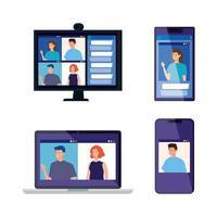 uppsättning elektroniska enheter med människor i videokonferenser