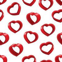 3D hjärtans alla hjärtans dag sömlösa mönster vektor