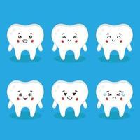 süßer Zahn mit verschiedenen Ausdrücken gesetzt vektor