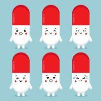 süße Pillenfiguren mit verschiedenen Ausdrucksformen vektor