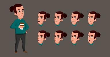 junger Mann, der Kaffeejungencharakterkarikatur mit unterschiedlichem Gesichtsausdruck trinkt vektor