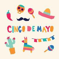 Super bunte Cinco De Mayo Icons vektor