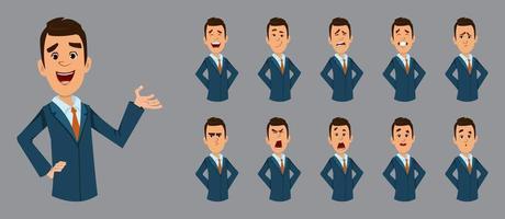glad affärsman med olika ansiktsuttryck. platt stil vektor karaktär illustration för design eller animering