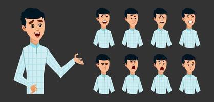 ung pojke karaktär med olika ansiktsuttryck samling. platt stil vektor karaktär illustration för design eller animering.