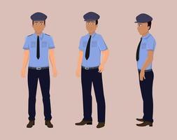 polis tecknad karaktär för rörelse design eller animering. karaktär vänd för karaktär animering vektor