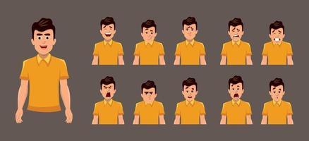 ung pojke ansikts känslor eller uttryck ark. olika uttrycksark för animering vektor