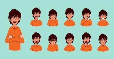 söt pojke ansikts känslor eller uttryck ark vektor