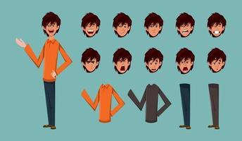 ung pojke seriefigur för rörelse design eller animering. karaktär olika typer av klänning och ansiktsuttryck ark. vektor
