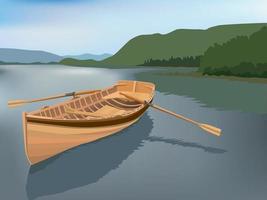 grafischer Vektor der Holzbootsillustration