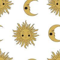 Vintage magische Sonne und Mond nahtloses Muster vektor