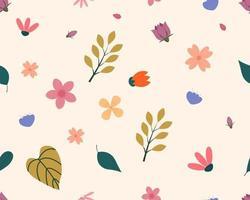blommande sömlösa blommönster med pastellfärg vektor