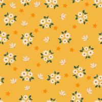 handritad vårblomma på gul bakgrund sömlöst mönster vektor