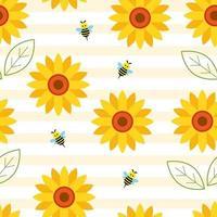 nahtlose Sonnenblume über gestreiftem Hintergrund vektor