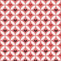 Kombination aus Batik Kawung und Blumenelement. Batik nahtloses Muster. vektor