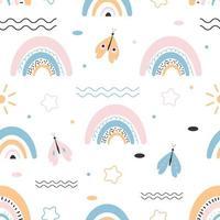 sömlösa mönster med söt regnbåge och fjäril vektor