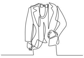 eine durchgehende Strichzeichnung der Herrenjacke mit Schleifen. junger Mann mit einem Party Dresscode im eleganten Stil lokalisiert auf weißem Hintergrund. Groomsman im Hochzeitsfeierkonzept. Vektorillustration