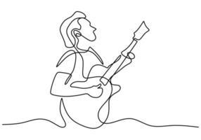 einzelne Strichzeichnung des jungen Mannes, der Gitarre am Lagerfeuer spielt. Ein Mann, der kampierte, trat mit einer Gitarre am Lagerfeuer auf weißem Hintergrund auf. Camping für Urlaubskonzept vektor