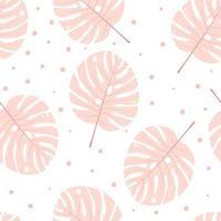 sömlösa pastellmonstera löv med prickar vektor
