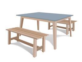 Holztisch auf Illustration Grafik Vektor gesetzt