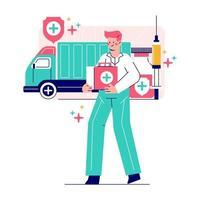 Illustration der Impfstoffverteilung an Menschen. Medikamentenlieferung nach weltweit. vektor