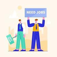 Illustration des Konzepts der Arbeitssuche. Person auf der Suche nach Jobs. Vorstellung von Ressource, Karriere und Geld vektor
