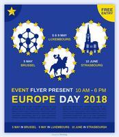 Europa-Tagesveranstaltung Flyer Vektor Vorlage