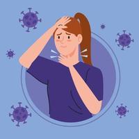 junge Frau mit 19 Symptomen vektor