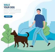 man går med hunden i mall för parkbanner vektor