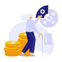 Vektor-Illustration der Finanzplanung im Gesundheitswesen. Oldman-Charakter mit Brille. vektor