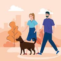 par som går hunden i parken vektor