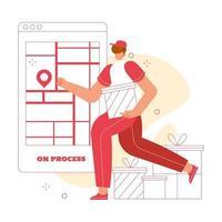 auf Lieferservice Vektor flache Illustration Konzept. Marktplatz-Benutzeroberfläche. Geeignet für mobile Apps, Websites und Zielseiten.