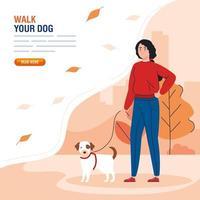 kvinna som går med hunden i mall för parkbanner vektor