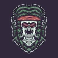 Gorillakopf, der ein Stirnband und eine Brillenvektorillustration trägt vektor
