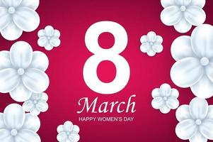 glückliche Frauentag Grußkartenschablone. schöne weiße Blumen auf rosa Hintergrund. vektor