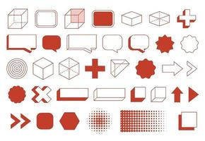 retro designelement geometriska former set. vintage design med linje och abstrakt form. vektor
