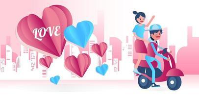ungt par som cyklar lyckligt tillsammans. vektor