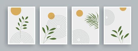 abstrakt konstmålning med tappningfärgbakgrund. minimalistiska abstrakta geometriska element och handritad linje. skandinavisk nordisk stil från mitten av århundradet. vektor