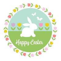 pastell glad påsk grafik med kanintulpaner och fjärilar vektor