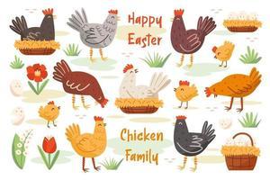 uppsättning kycklingfamilj. kyckling, höna, kuk. husdjur, fåglar. glada påskelement. vektor