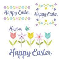 handgezeichnete pastellglückliche Ostergrafiken mit Tulpen und Blumen vektor
