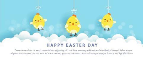 Fröhliches Ostern mit kleinen Hühnern im Papierschnittstil. vektor