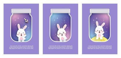 Kartensatz mit niedlichen Kaninchen im Galaxienhintergrund. Papierschnitt und Bastelstil vektor