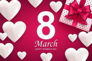 lycklig kvinnodag gratulationskort. vita hjärtan och presentask med rosa band rosett