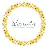 gelber Wildblumenaquarellblumenkreisrahmen vektor