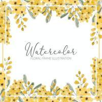 gelbe Wildblumenaquarellblumenrahmengrenze vektor