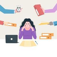 överansträngt koncept. stressad ung kvinnlig anställd på arbetsplatsen. vektor